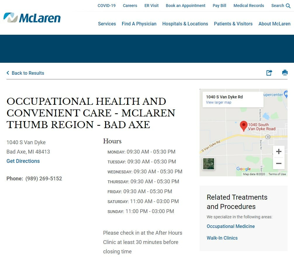 McLaren Thumb Region – Occupational Health and Convenient Care Bad Axe